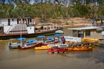 Boat and Canoe Hire with PS Adelaide sailing past, Echuca, Victoria