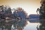 Historic Echuca Wharf, PS Pevensy and PS Adelaide on sunrise, Echuca, Victoria