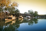 Historic Echuca Wharf, PS Adelaide; PS Alexander Arbuthnot and PS Pevensy on sunrise, Echuca, Victoria