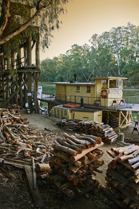 PS Alexander Arbuthnot and wood piles at Echuca Wharf, Echuca, Victoria