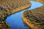 Aerial of Murray River near Dareton, New South Wales