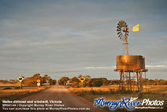 Mallee dirtroad and windmill, Victoria