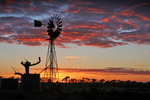 Local windmill at Pinnaroo on sunrise, South Australia