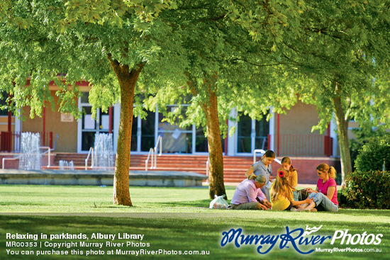 Relaxing in parklands, Albury Library