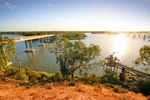 Sunrise over Kingston-on-Murray bridge and Wachtels Lagoon, South Australia