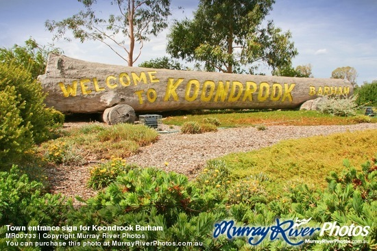 Town entrance sign for Koondrook Barham