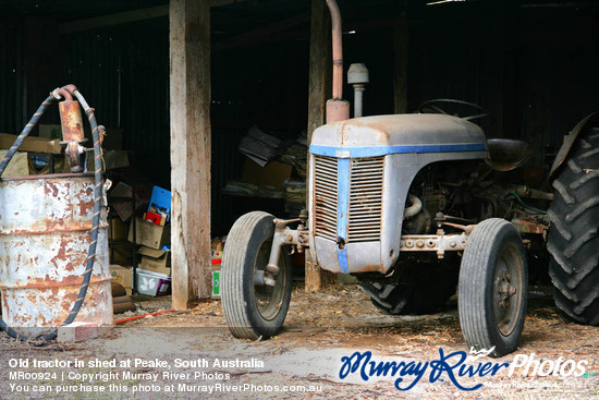 Old tractor in shed at Peake, South Australia
