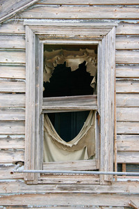 Old window frame in a Peake house, Mallee, South Australia