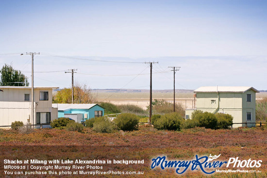 Shacks at Milang with Lake Alexandrina in background