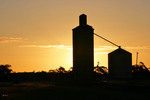 Sunset with Cowangie Silos, Mallee