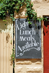 Lunch meals sign at Pinnaroo Hotel, South Australia