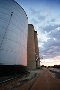 Carina silos on sunrise, Mallee, Victoria