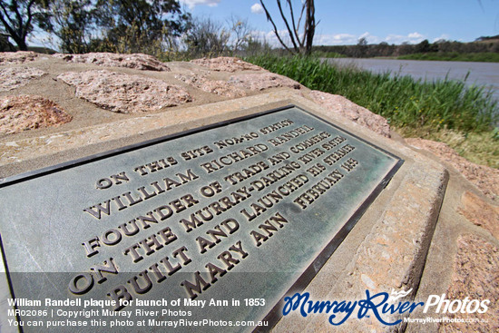 William Randell plaque for launch of Mary Ann in 1853