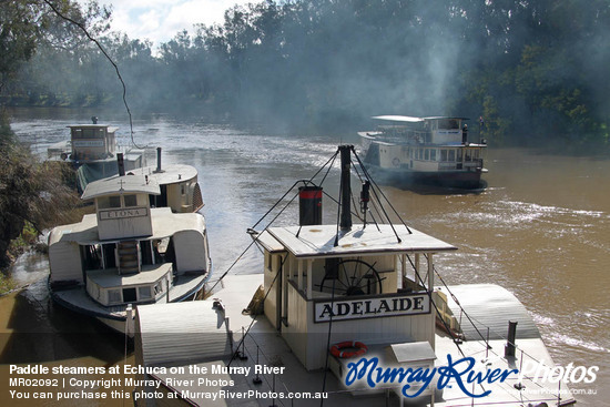 Paddle steamers at Echuca on the Murray River