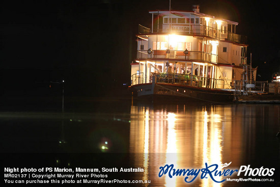 Night photo of PS Marion, Mannum, South Australia