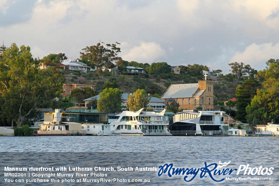 Mannum riverfront with Lutheran Church, South Australia