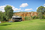 Houseboat and cliffs of Walker Flat, Murray River, South Australia