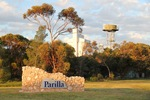 Parilla town entrance sign and silos, South Australia