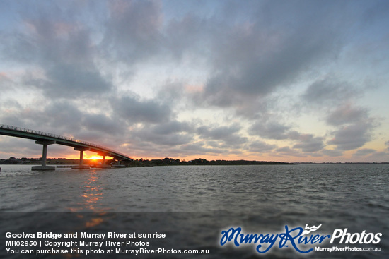 Goolwa Bridge and Murray River at sunrise