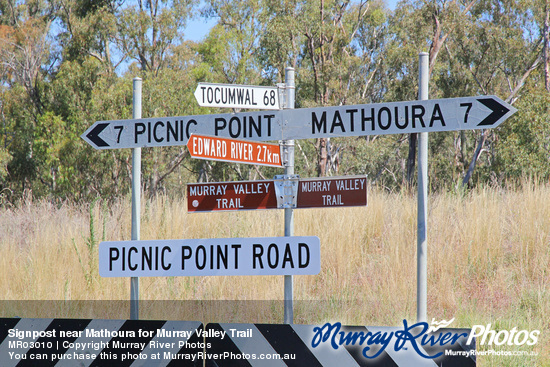 Signpost near Mathoura for Murray Valley Trail