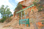 Wilabalangaloo sign and sandstone cliffs - 3-6 million years old