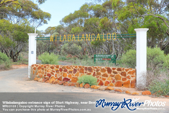 Wilabalangaloo entrance sign of Sturt Highway, near Berri