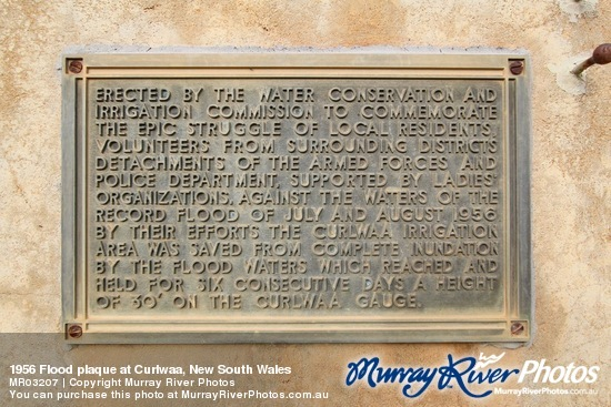 1956 Flood plaque at Curlwaa, New South Wales