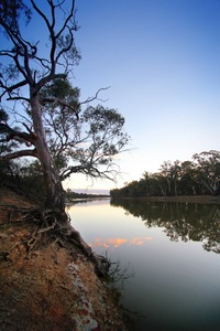 Sunset over the Murray River at Wemen, Victoria