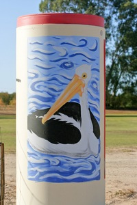 Painting on Cadell Oval entrance of Pelican