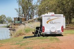 Caravanning at Moorook, Riverland with Tamara Rae in background