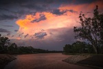 Sunset and thunder clouds over Lock 11, Mildura