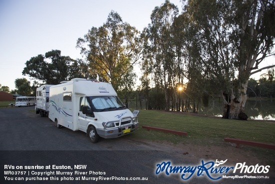 RVs on sunrise at Euston, NSW
