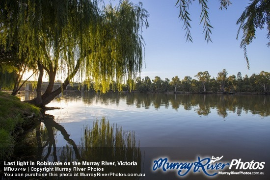 Last light in Robinvale on the Murray River, Victoria