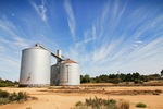 Wheat silos in Torrita, Mallee, Victoria