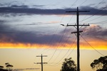 Powerlines on sunrise in the Mallee