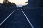 Railway tracks in the Mallee on sunrise, Walpeup, Victoria