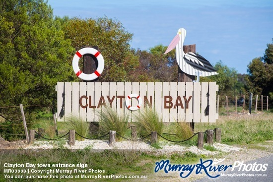 Clayton Bay town entrance sign