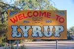 Lyrup town entrance sign