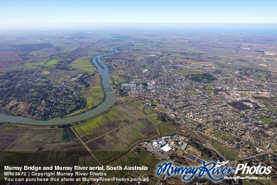 Murray Bridge and Murray River aerial, South Australia