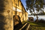 Boat shed and early morning light, Murray Bridge