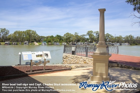 River Boat Trail sign and Captain Charles Sturt monument