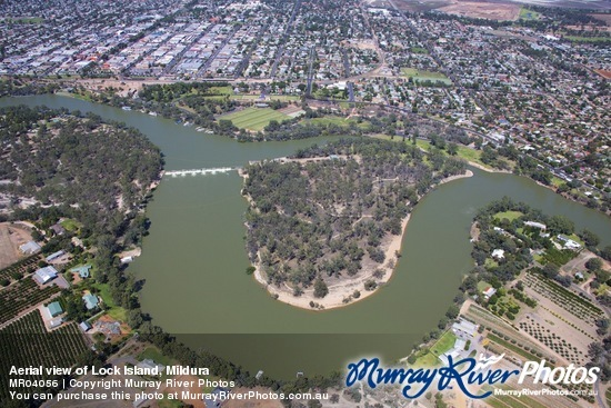 Aerial view of Lock Island, Mildura