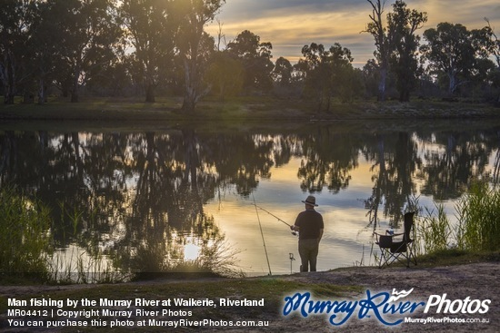 Man fishing by the Murray River at Waikerie, Riverland