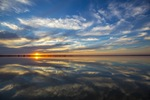 Reflection of Lake Bonney on sunset, Barmera