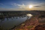 Morning sun over Murray River at Headings Cliffs, Riverland