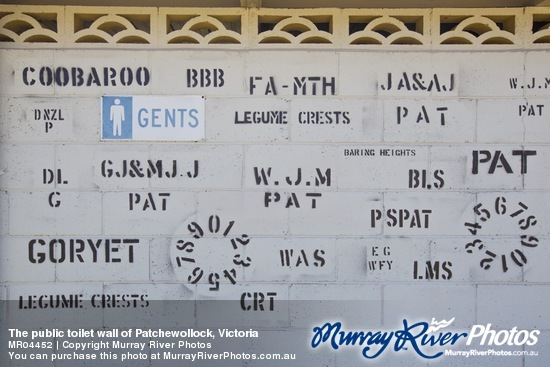 The public toilet wall of Patchewollock, Victoria